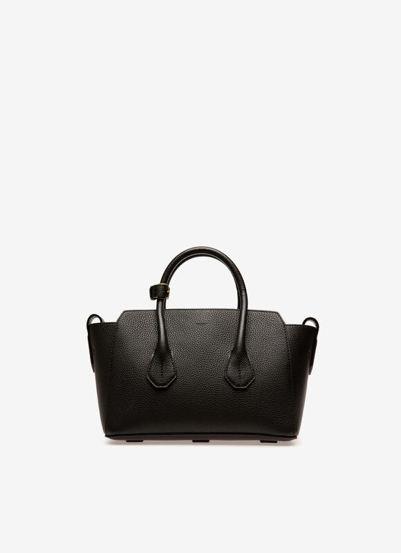 In premium grained black calf leather, the small Sommet bag replicates the understated style of its larger namesake. Just like the medium and large Sommets, this mini top handle bag can be styled according to occasion and mood using the side straps to open or close its trapeze silhouette.