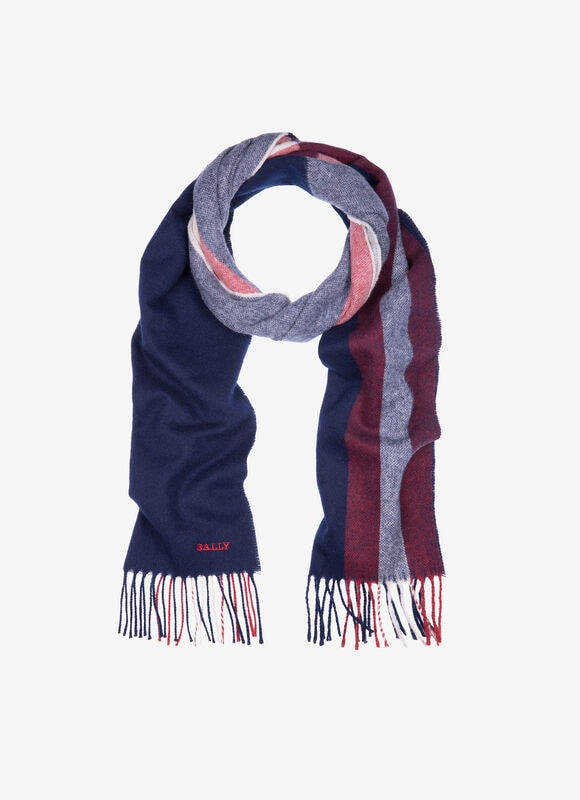 With its navy blue base and bright contrast stripes, this contemporary wool scarf is an everyday luxury. High-quality tassels, and a smartly embroidered Bally logo, add welcome character to this elegant accessory.