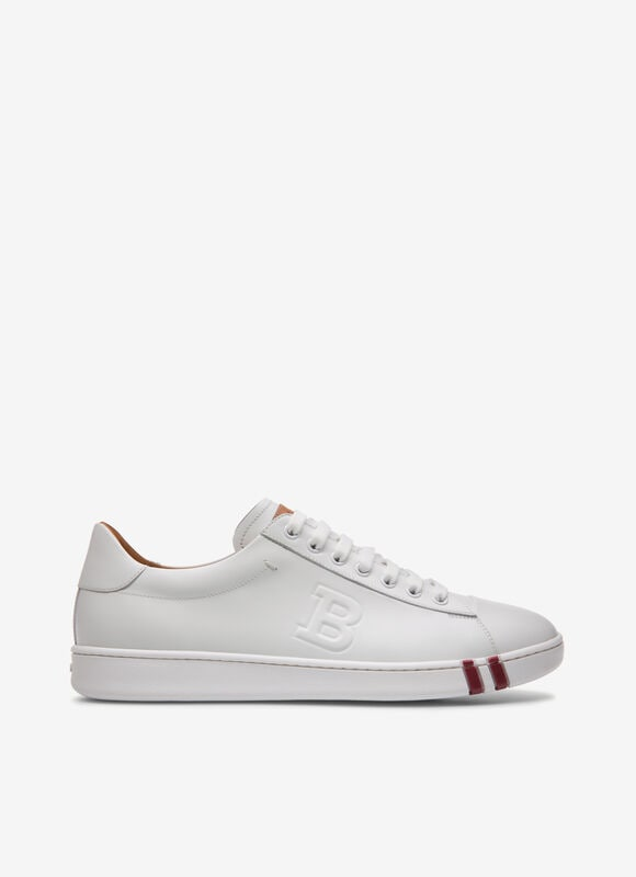 Combining calf leather and a flexible rubber cup sole, this white low-top sneaker is a considered style for the weekend. Featuring a practical lace-up fastening with a debossed \\\'B\\\' design, this retro-inspired shoe flashes the Bally Stripe on its mid sole.