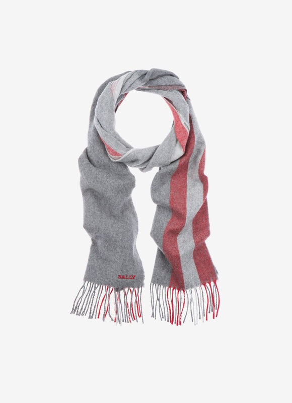 A luxurious wool mix scarf to sport with city suits or casual attire alike. In a grey and red wide stripe design, and featuring an embroidered Bally logo, this is an accessory with timeless appeal.