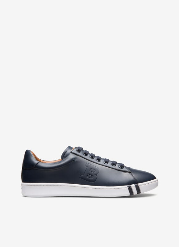 Combining calf leather and a flexible rubber cup sole, this navy low-top sneaker is a considered style for the weekend. Featuring a practical lace-up fastening with a debossed \\\'B\\\' design, this retro-inspired shoe flashes the Bally Stripe on its mid sole.
