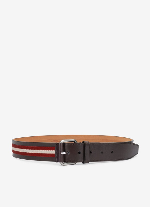 The red and beige Tianis gentleman\\\'s belt is ideal for stylish evenings in the city. Produced in calf leather, it has a refined touch and appearance underpinned by our iconic Trainspotting stripe.