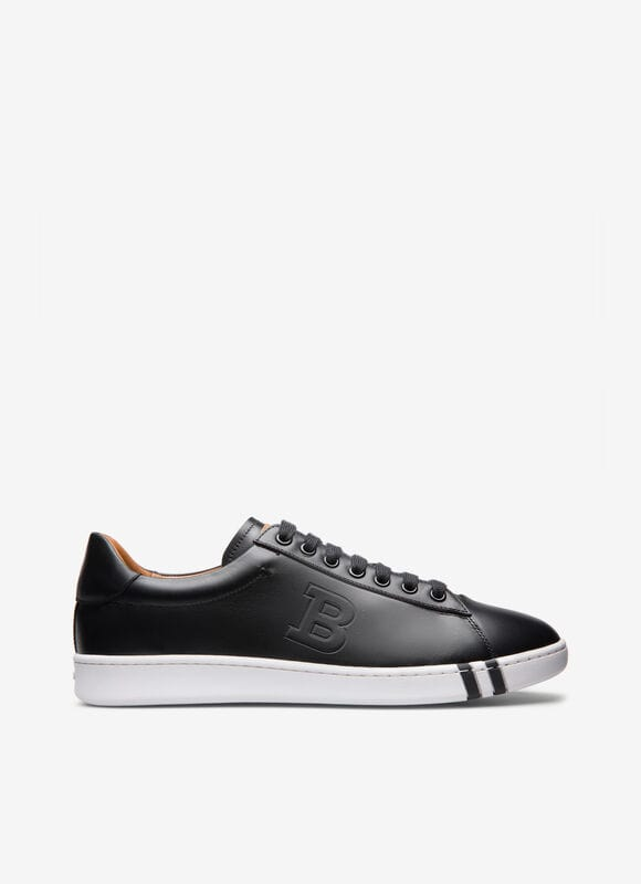 Combining calf leather and a flexible rubber cup sole, this black low-top sneaker is a considered style for the weekend. Featuring a practical lace-up fastening with a debossed \\\'B\\\' design, this retro-inspired shoe flashes the Bally Stripe on its mid sole.