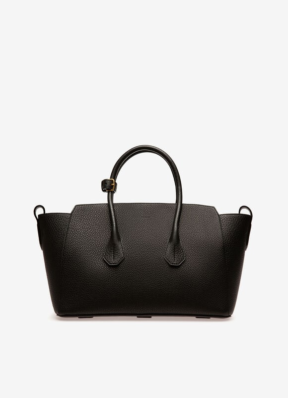 In premium black leather, the medium Sommet bag is an impeccably stylish carry-all. Adjust its volume according to occasion and mood using the side straps or let its trapeze silhouette stand open. This season, updates to the iconic design make the Sommet lighter to carry.